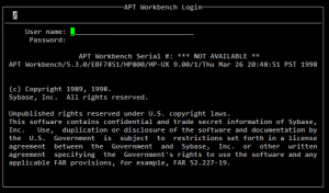 Sybase APT Workbench - Login screen