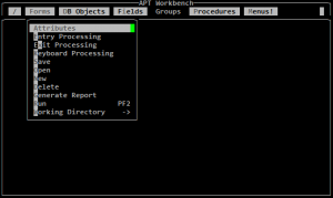 Sybase APT Workbench - Forms Menu